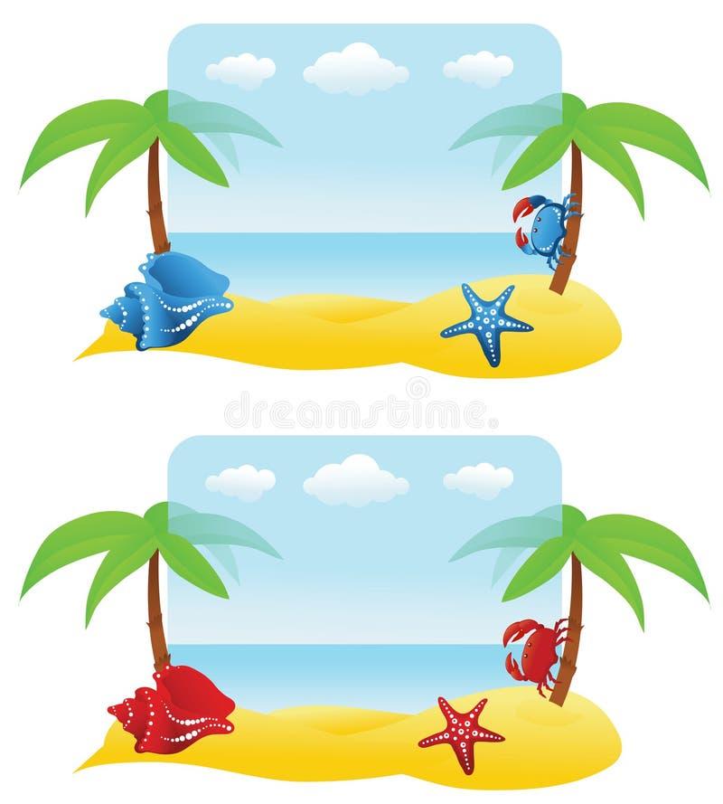 Drapeaux avec le palmier, crabe photographie stock