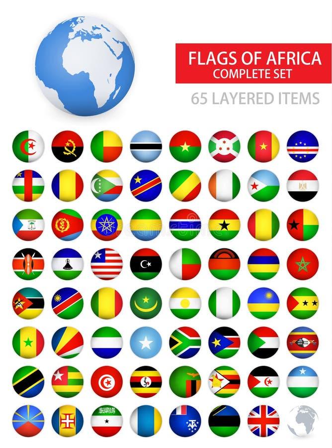 Drapeaux brillants ronds d'ensemble complet de l'Afrique illustration stock