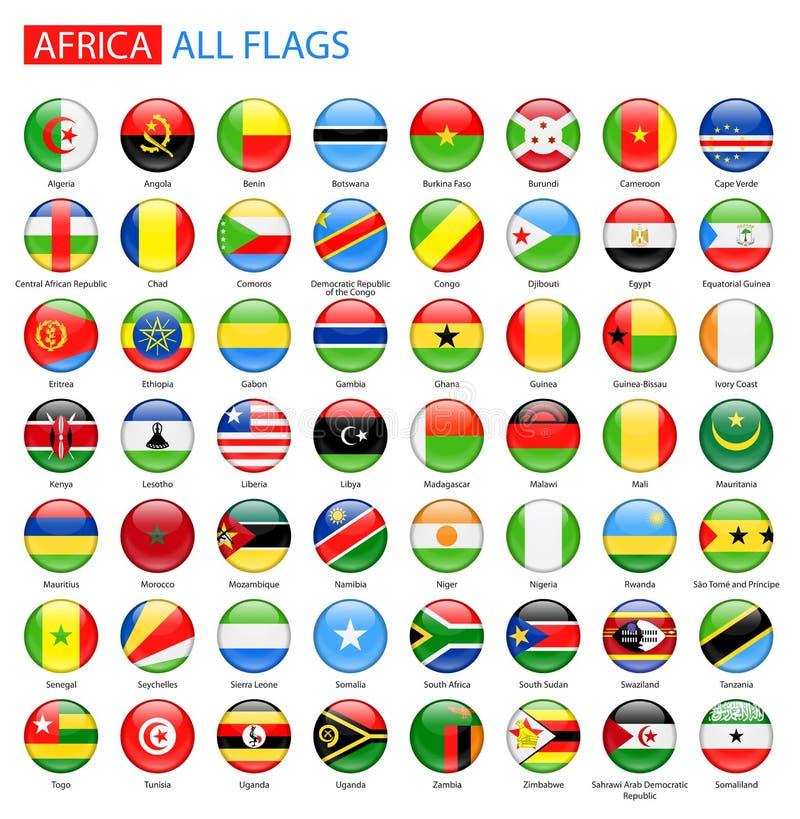 Drapeaux brillants ronds de l'Afrique - pleine collection de vecteur illustration libre de droits