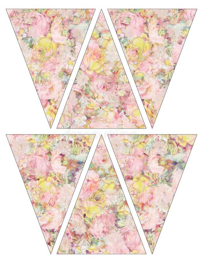 Drapeaux chics minables imprimables de guirlande d'étamine de bannière de style de vintage de DIY avec les roses roses et jaunes  illustration stock