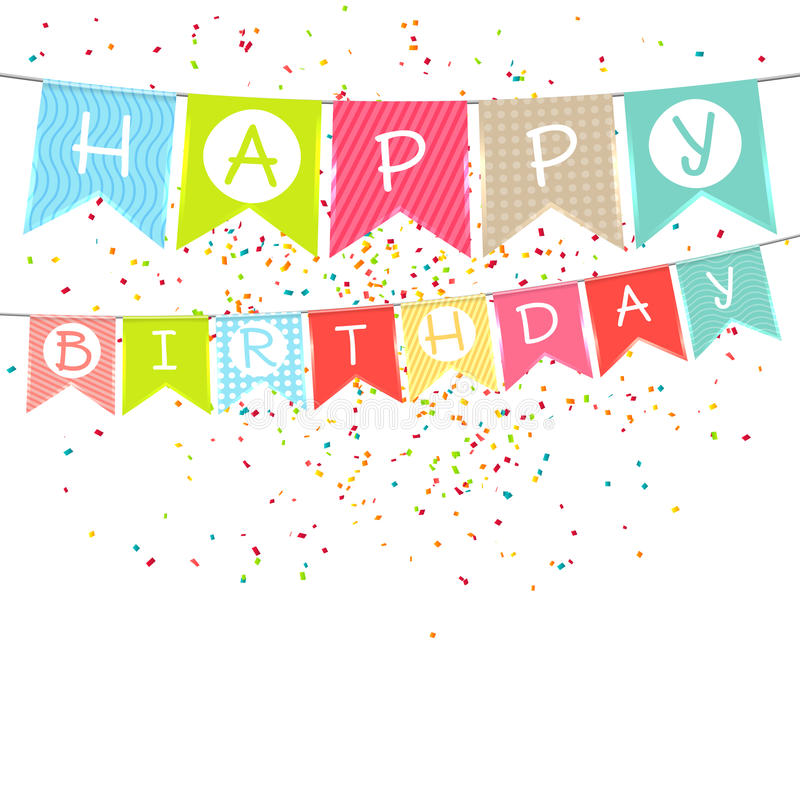 Drapeaux colorés accrochants avec l'inscription : Joyeux anniversaire illustration libre de droits