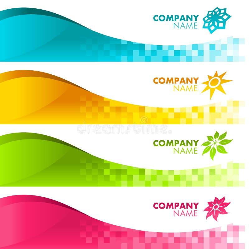 Drapeaux colorés de Pixel illustration stock