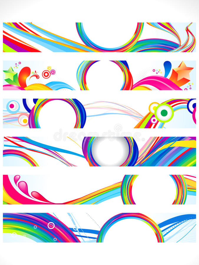 Drapeaux colorés multiples abstraits de Web illustration de vecteur