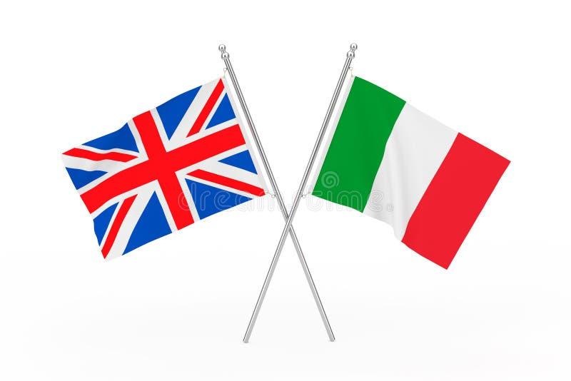 Drapeaux croisés du Royaume-Uni et de l'Italie rendu 3d illustration stock