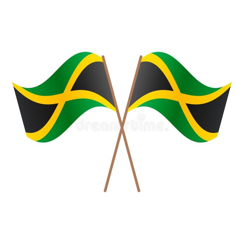 Drapeaux croisés symétriques de la Jamaïque illustration stock