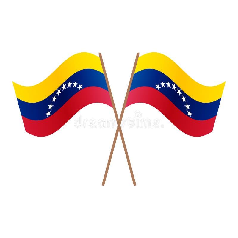 Drapeaux croisés symétriques du Venezuela illustration de vecteur