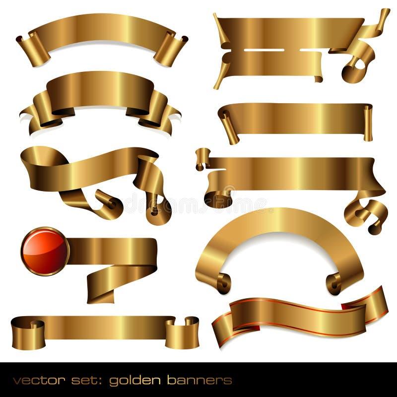 Drapeaux/défilements d'or illustration de vecteur