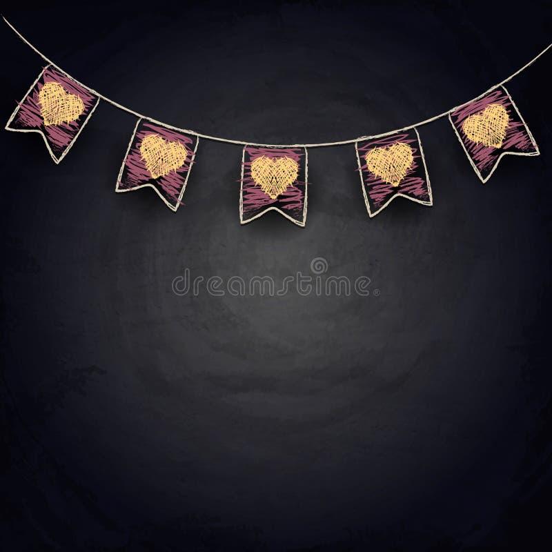 Drapeaux d'étamine de dessin avec des coeurs sur le tableau noir illustration stock