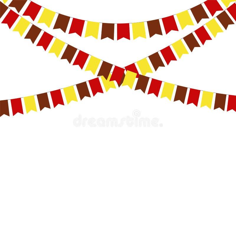 Drapeaux d'étamine de thanksgiving lumière de vacances de guirlande de décorations colorée par ampoules de fond allumée illustration libre de droits