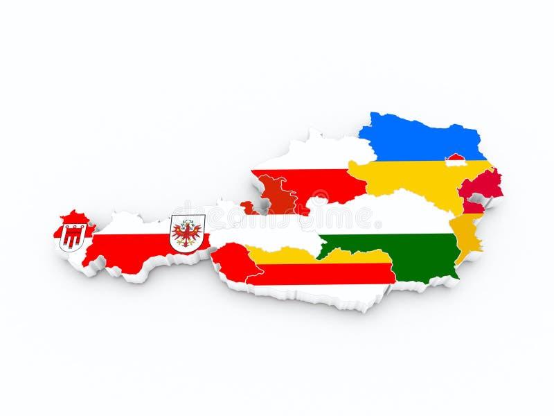 Drapeaux d'état de l'Autriche sur la carte 3D illustration de vecteur