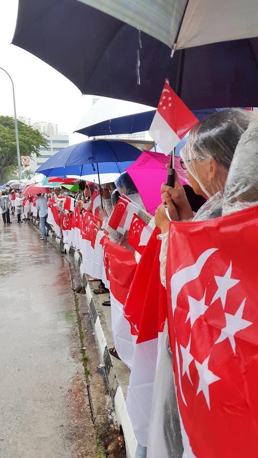 Drapeaux d'état pour la procession funéraire de LKY photos libres de droits