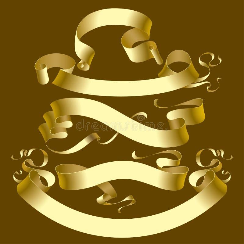 Drapeaux d'or illustration stock