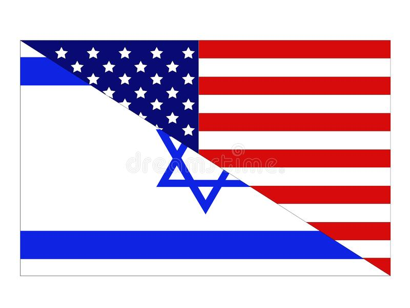 Drapeaux d'Américain et de l'Israël illustration stock