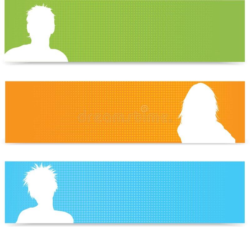 Drapeaux d'avatar de gens illustration de vecteur