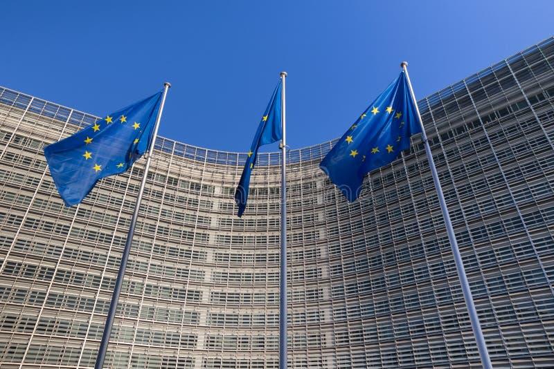 Drapeaux d'Eu à Bruxelles Belgique images stock