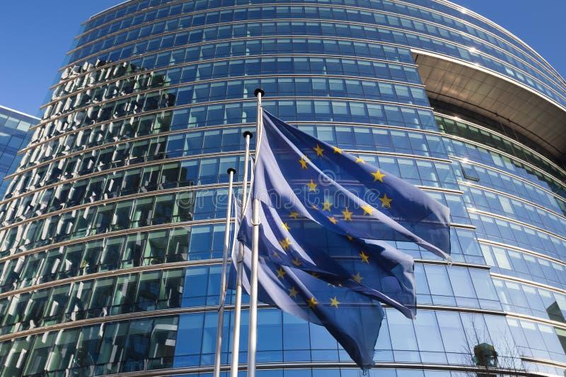 Drapeaux d'Eu à Bruxelles Belgique photographie stock libre de droits