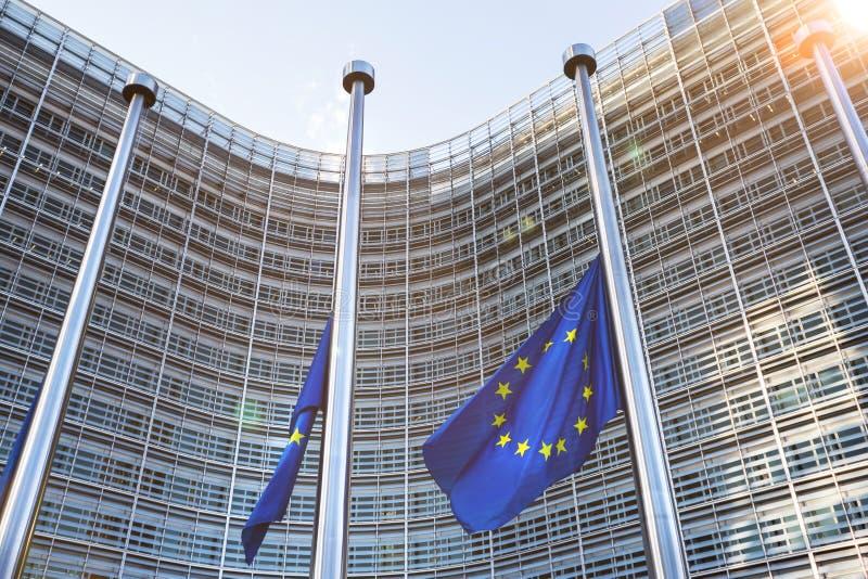 Drapeaux d'Eu à Bruxelles Belgique image stock