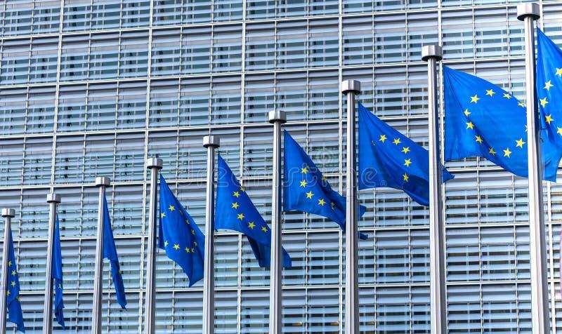 Drapeaux d'Eu à Bruxelles Belgique photographie stock