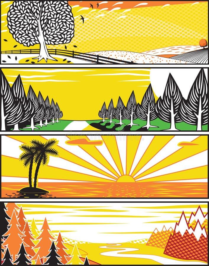 Drapeaux d'horizontal de Popart illustration libre de droits