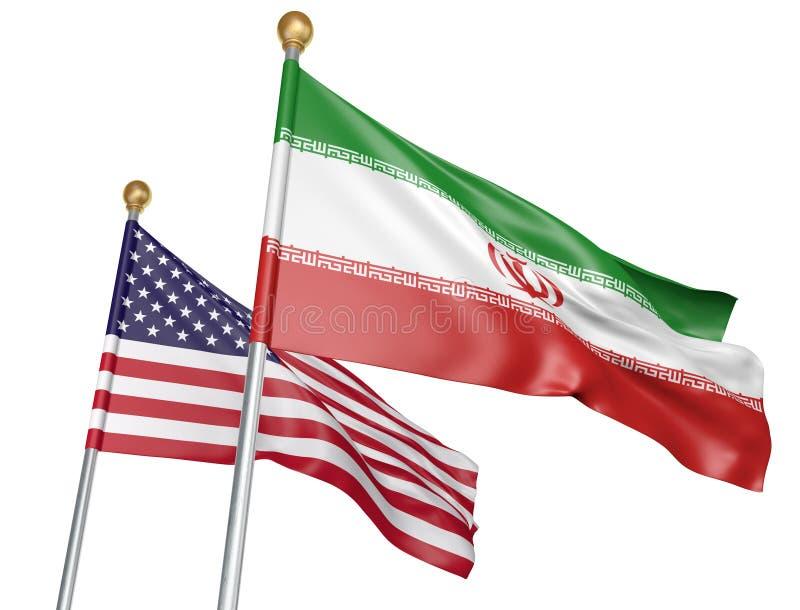 Drapeaux d'isolement de l'Iran et des Etats-Unis volant ensemble pour des entretiens diplomatiques et des relations commerciales, illustration stock