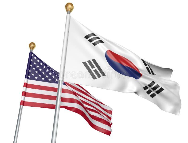 Drapeaux d'isolement de la Corée du Sud et des Etats-Unis volant ensemble pour des entretiens diplomatiques et des relations comm illustration stock