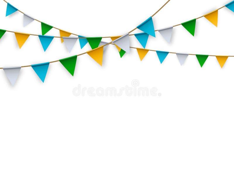 Drapeaux d'isolement réalistes de partie de vecteur pour la décoration et la bâche sur le fond blanc illustration de vecteur