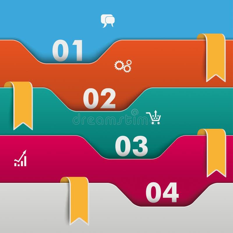 Drapeaux d'orange d'Infographic de dossiers illustration de vecteur