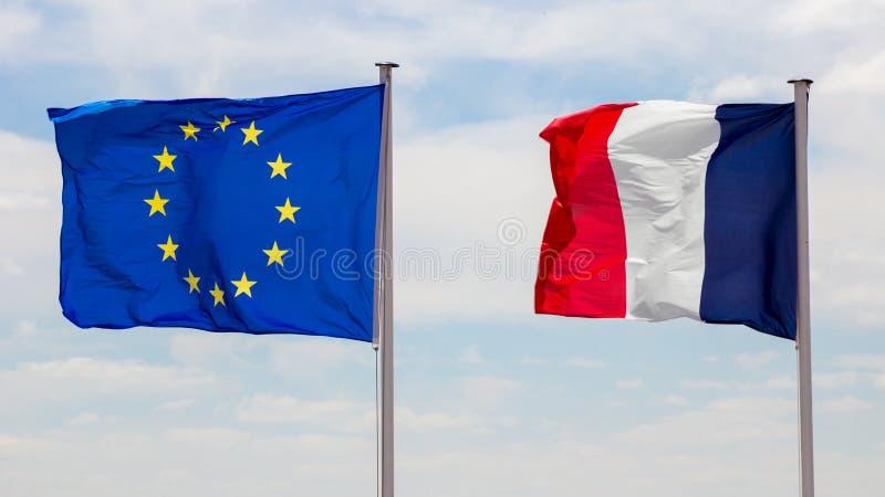 Drapeaux d'UE de Frances photos libres de droits
