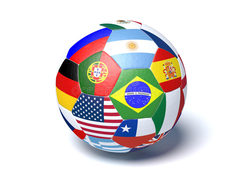 Drapeaux de ballon de football images stock