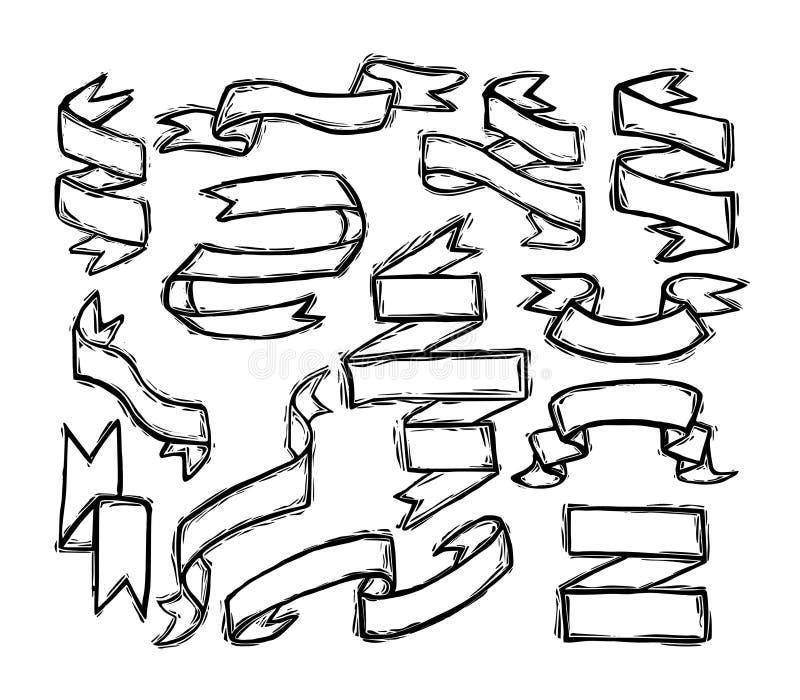 Drapeaux de bande réglés illustration de vecteur