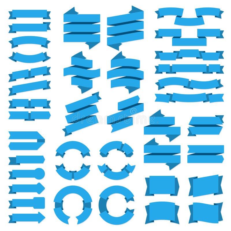 Drapeaux de bandes Bannière d'insigne de vente, étiquettes bleues de cru, label graphique plat vide d'arc, rétros autocollants de illustration de vecteur