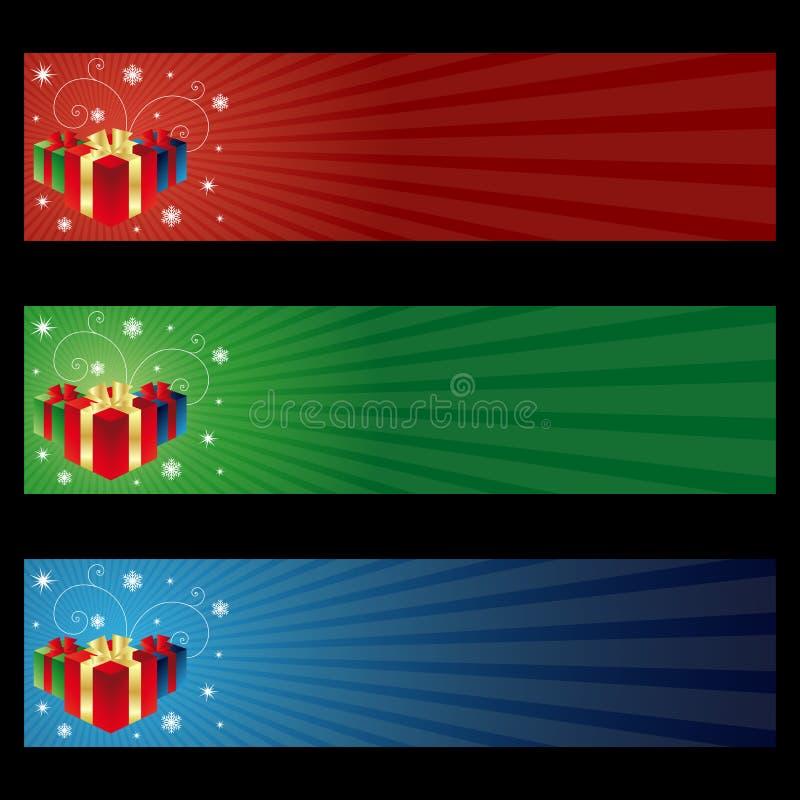 Drapeaux de cadeau de Cristmas illustration stock