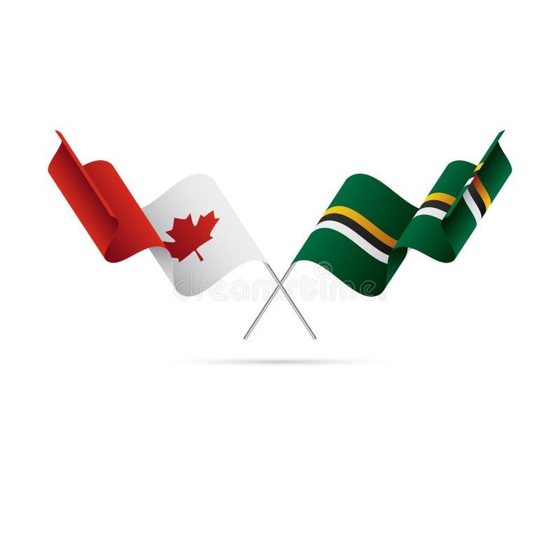 Drapeaux de Canada et de la Dominique Indicateurs croisés Illustration de vecteur illustration de vecteur