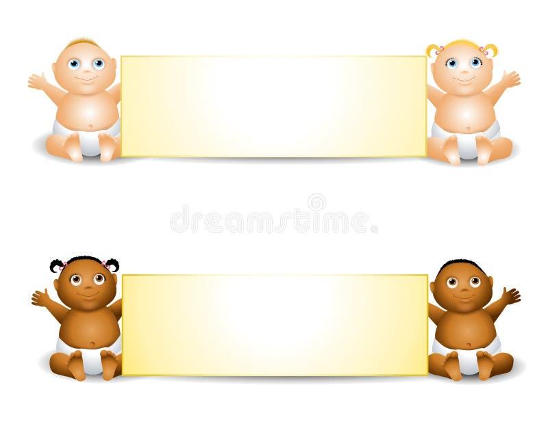 Drapeaux de chéri de dessin animé illustration stock