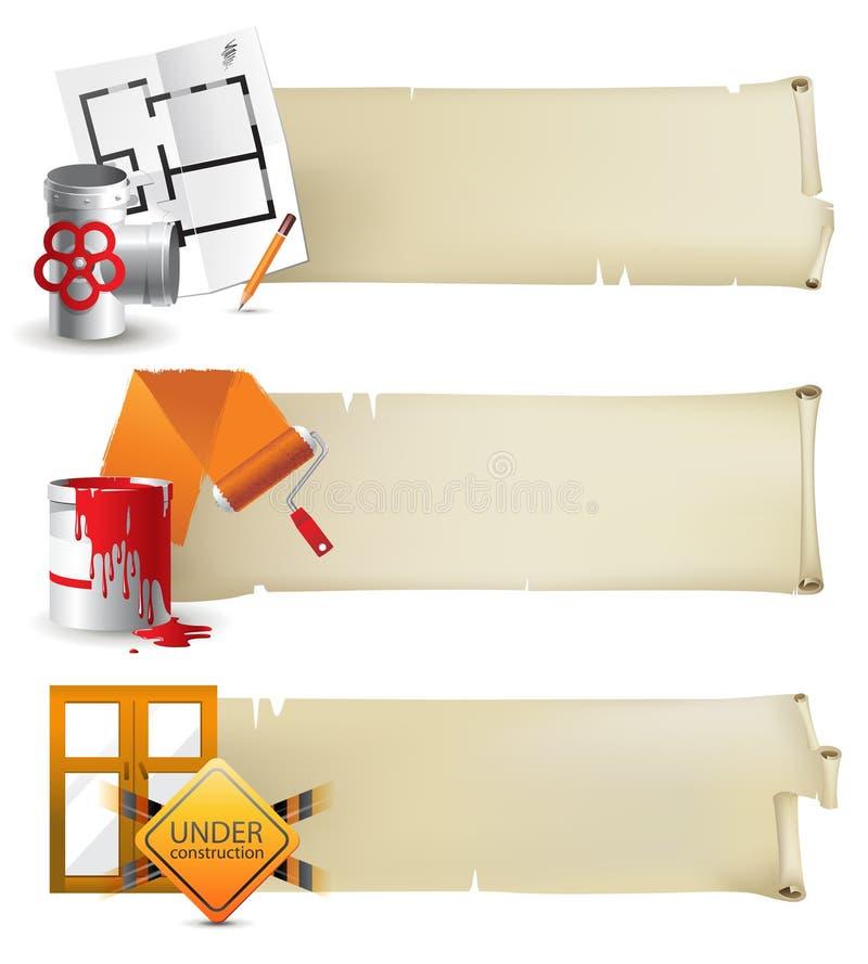 Drapeaux de construction illustration de vecteur