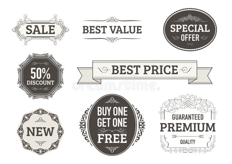 Drapeaux de cru, étiquettes pour des entreprises illustration stock