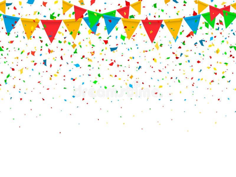Drapeaux de fête et confettis de modèle sans couture illustration stock