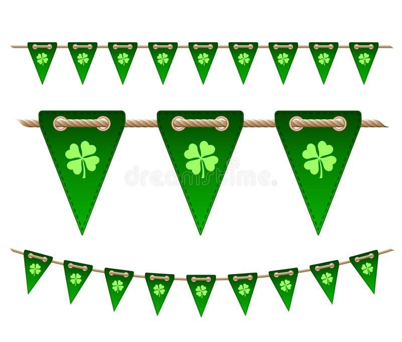 Drapeaux de fête verts avec des trèfles illustration de vecteur