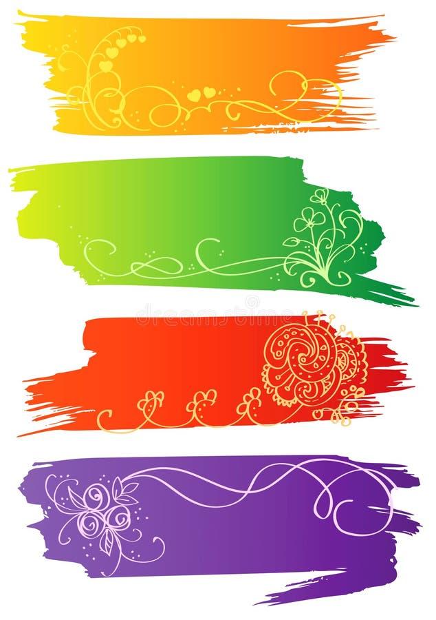 Drapeaux de fleur illustration stock