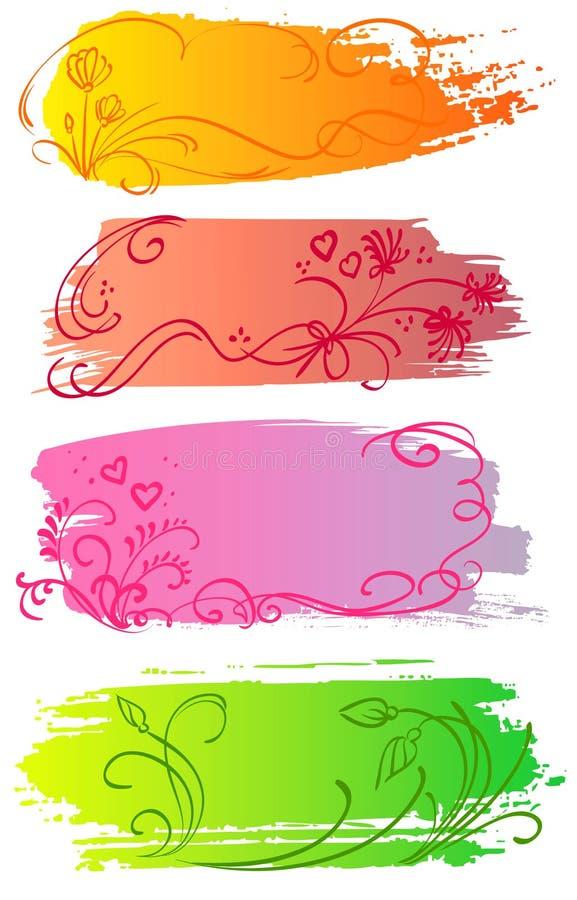 Drapeaux de fleur et de coeur illustration de vecteur