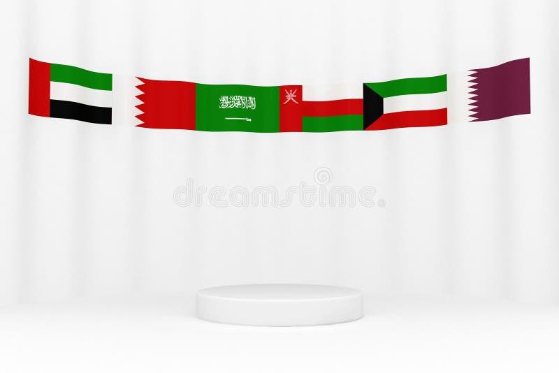 Drapeaux de GCC autour d'une plate-forme illustration de vecteur