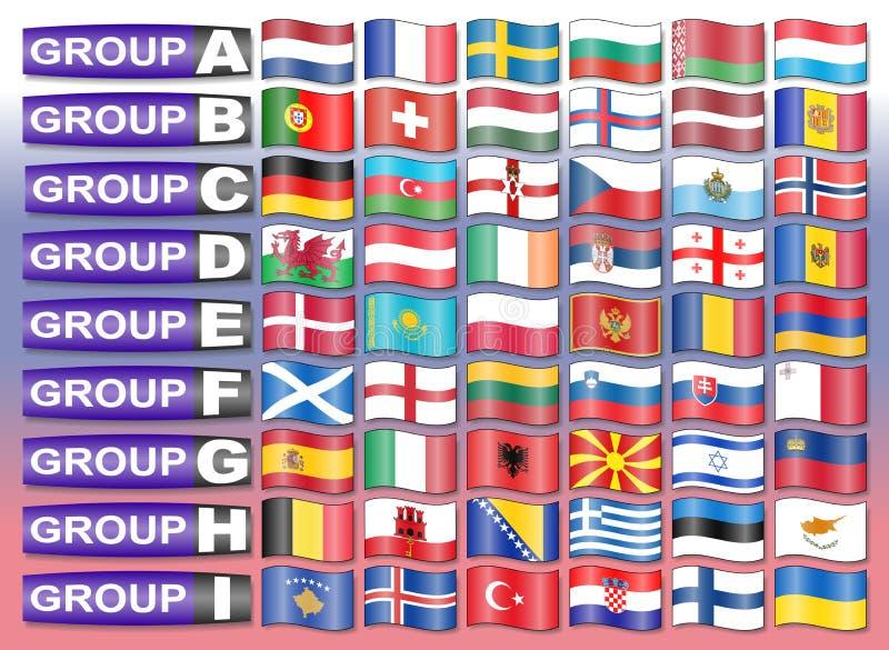Download Drapeaux De Groupe Européen Du Football Illustration de Vecteur - Illustration du europe, fond: 77157719