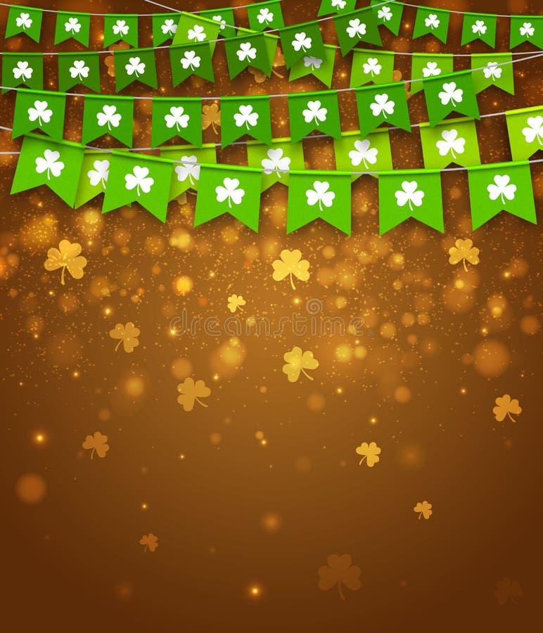 Drapeaux de guirlande avec des trèfles Jour irlandais du ` s de St Patrick de vacances illustration de vecteur