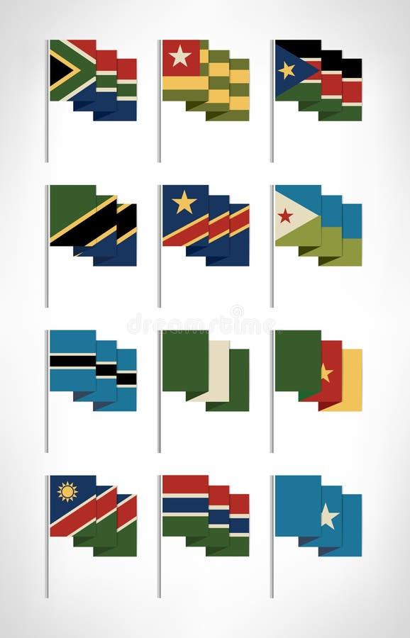 Drapeaux de l'Afrique réglés Conception plate 2 de bande dessinée illustration stock
