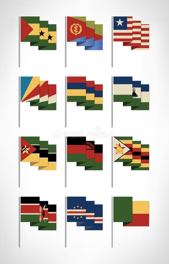 Drapeaux de l'Afrique réglés Conception plate 4 de bande dessinée illustration libre de droits