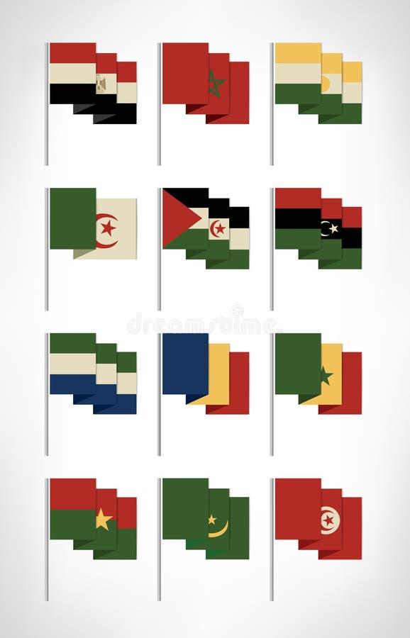 Drapeaux de l'Afrique réglés Conception plate de bande dessinée avec les couleurs 1 de vintage illustration de vecteur