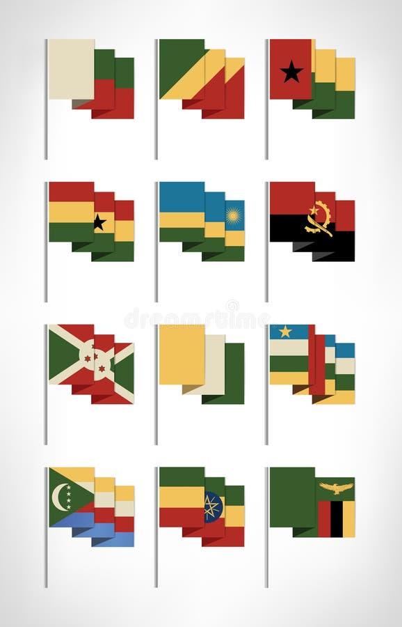 Drapeaux de l'Afrique réglés Conception plate de bande dessinée avec les couleurs 3 de vintage illustration de vecteur