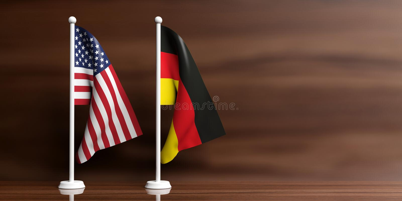 Drapeaux de l'Allemagne et des Etats-Unis sur le fond en bois illustration 3D illustration stock
