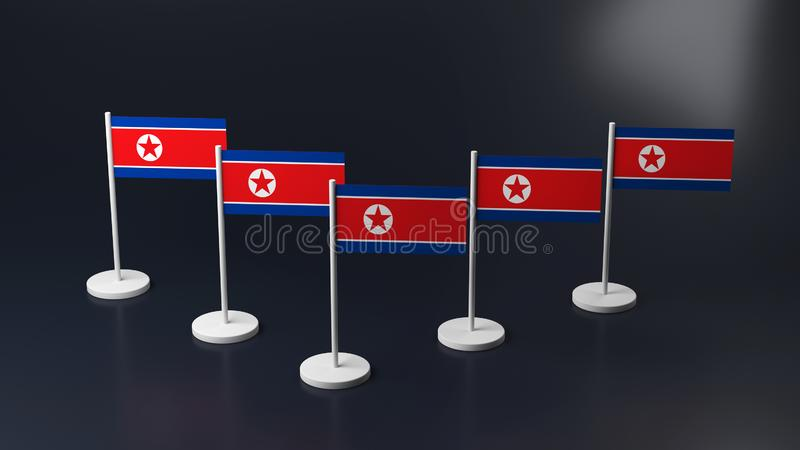 Drapeaux de l'Amérique et de la Corée sur les supports illustration libre de droits