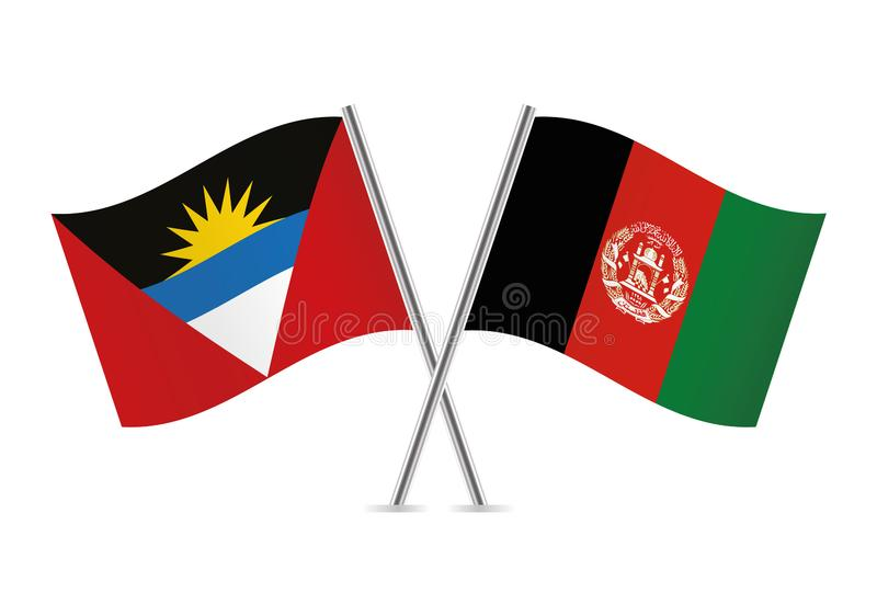 Drapeaux de l'Antigua-et-Barbuda et d'Afganistan Illustration de vecteur illustration de vecteur